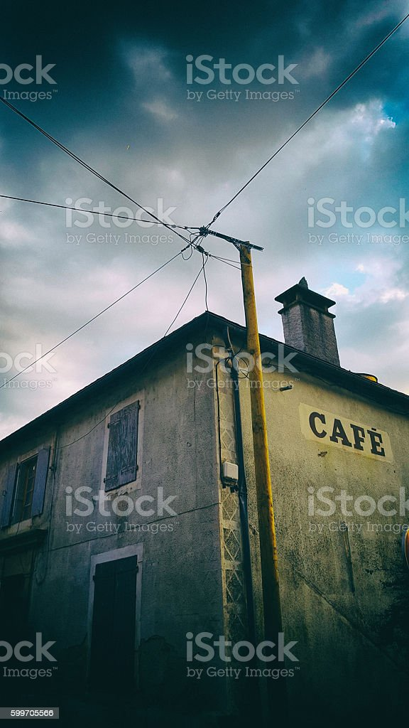 Old building with a sign saying 'café' stock photo