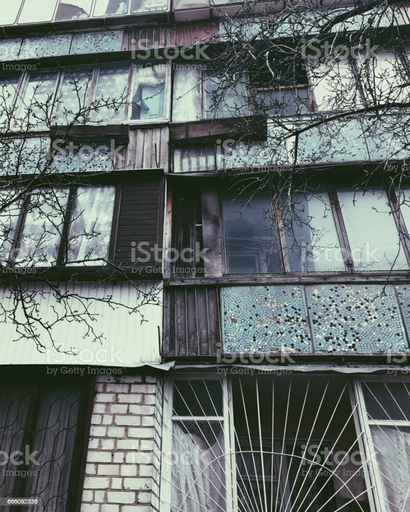 Old building with color bright windows stock photo