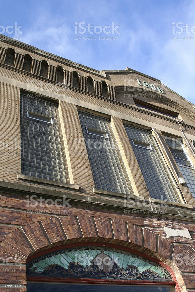 Old Building with Stained Glass Window 1906 stock photo