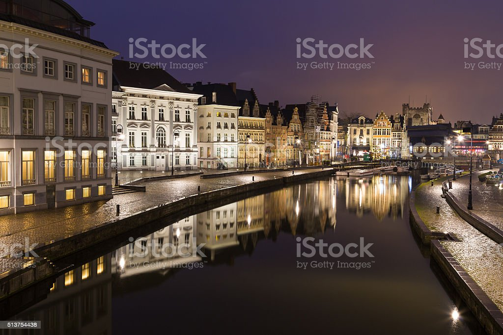 Old buildings along Korenlei and the River Leie in Ghent stock photo