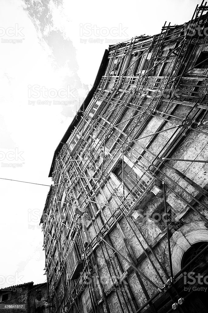 Old buildings damaged by the earthquake stock photo
