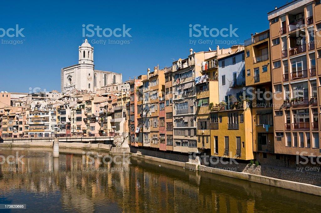 Old buildings - Girona in Catalonia in Spain stock photo