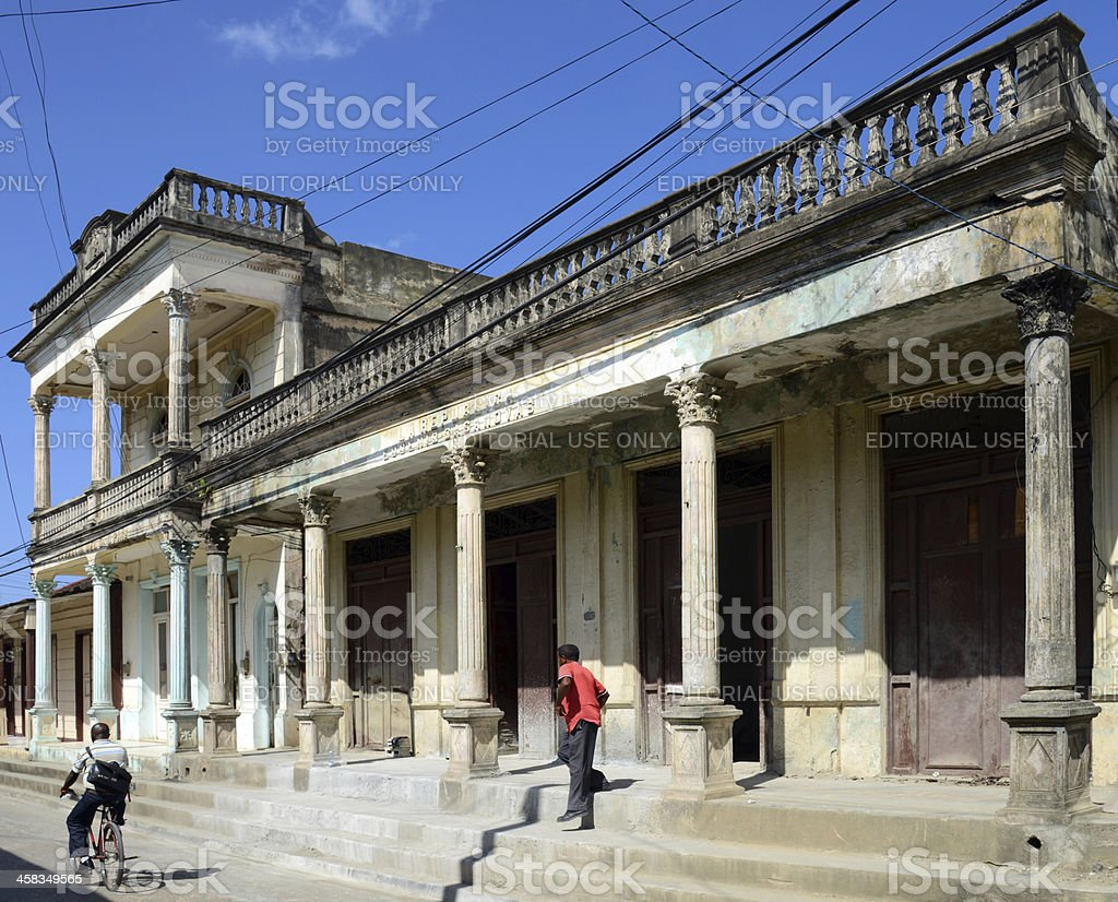 Old buildings in Baracoa stock photo
