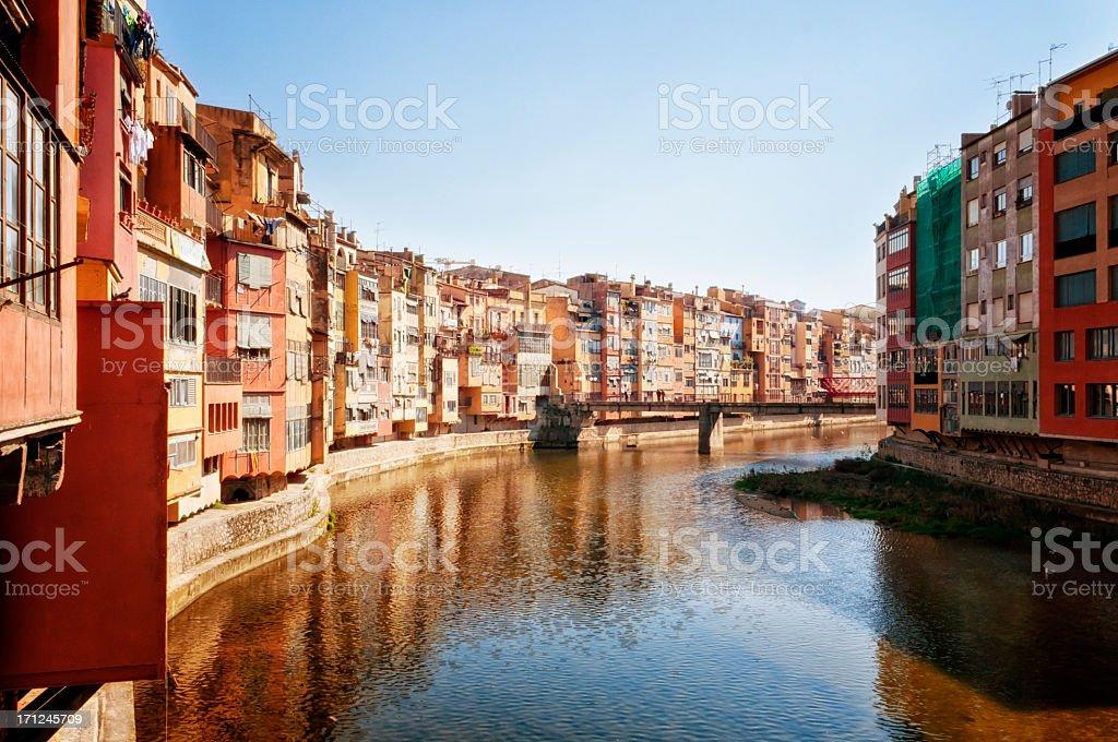 Old buildings in Girona stock photo