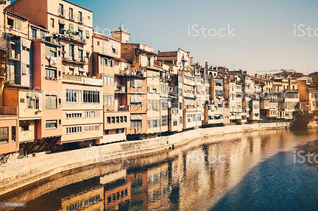 Old buildings in Girona - Spain stock photo