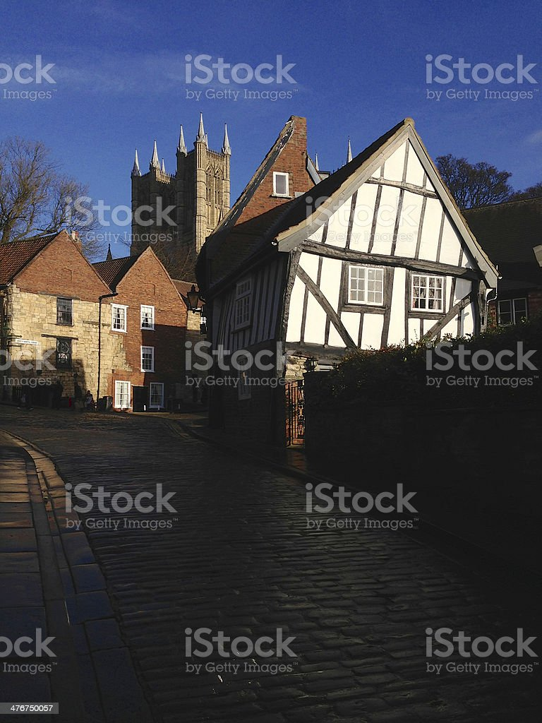 Old buildings in historic Lincoln (Mobile image) royalty-free stock photo
