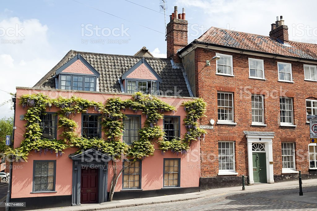 Old buildings in Pottergate, Norwich royalty-free stock photo