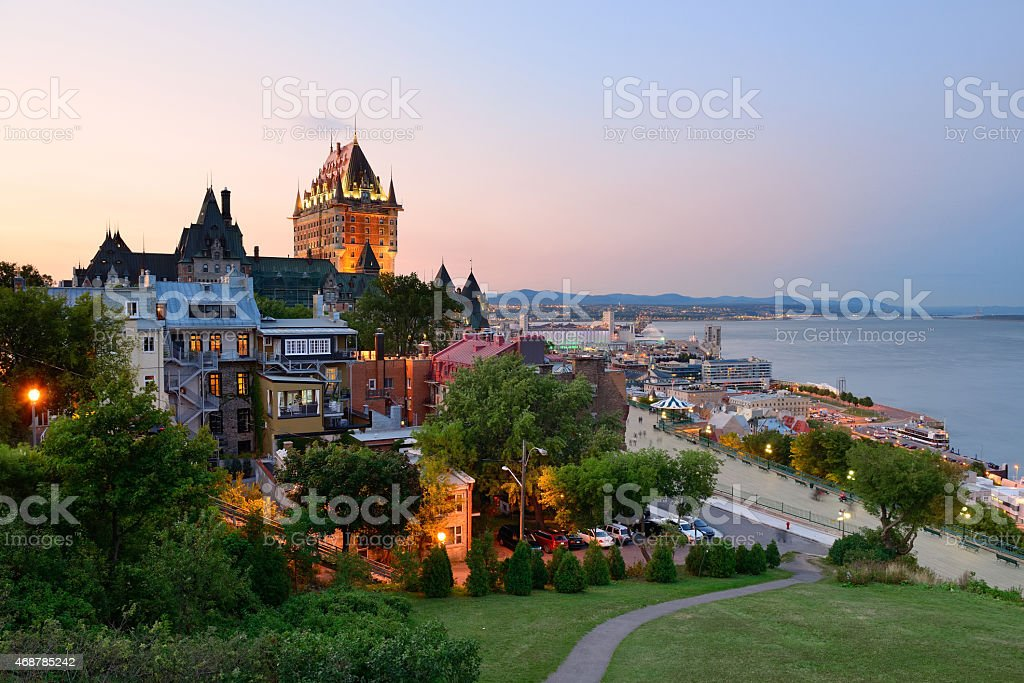 Old buildings in Quebec City at dusk stock photo