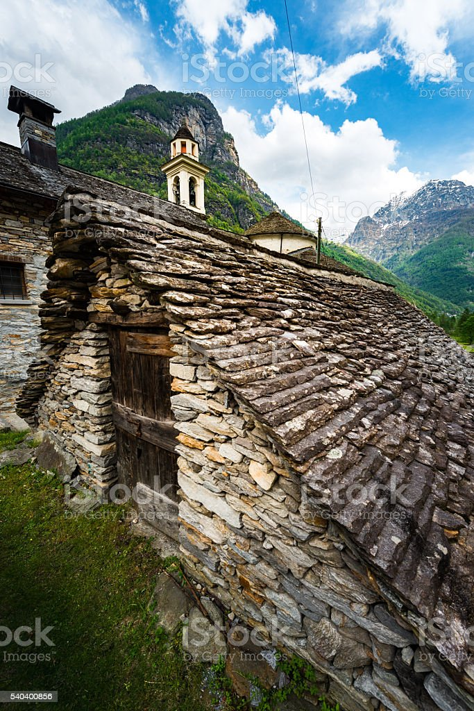 old buildings in Sonogno in valley verzasca in Switzerland stock photo