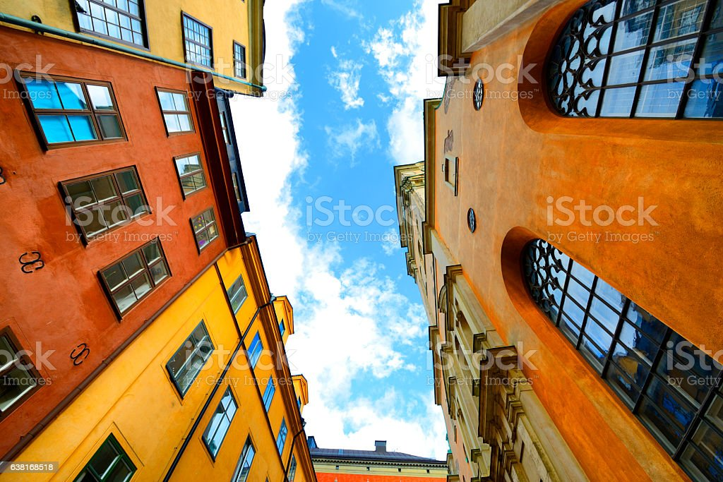 Old buildings in Stockholm stock photo