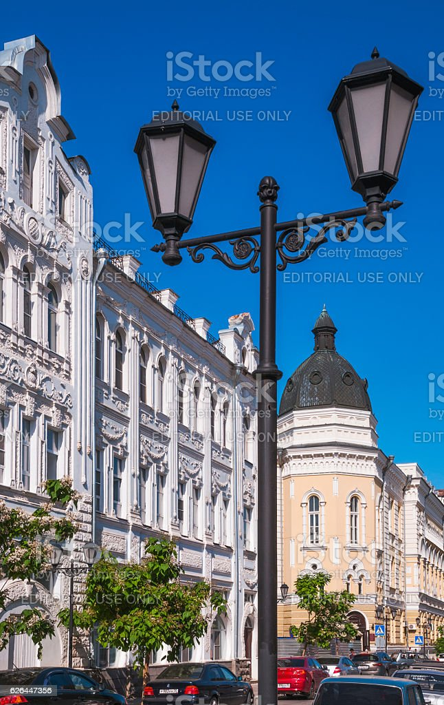 Old buildings in the center of Astrakhan. stock photo