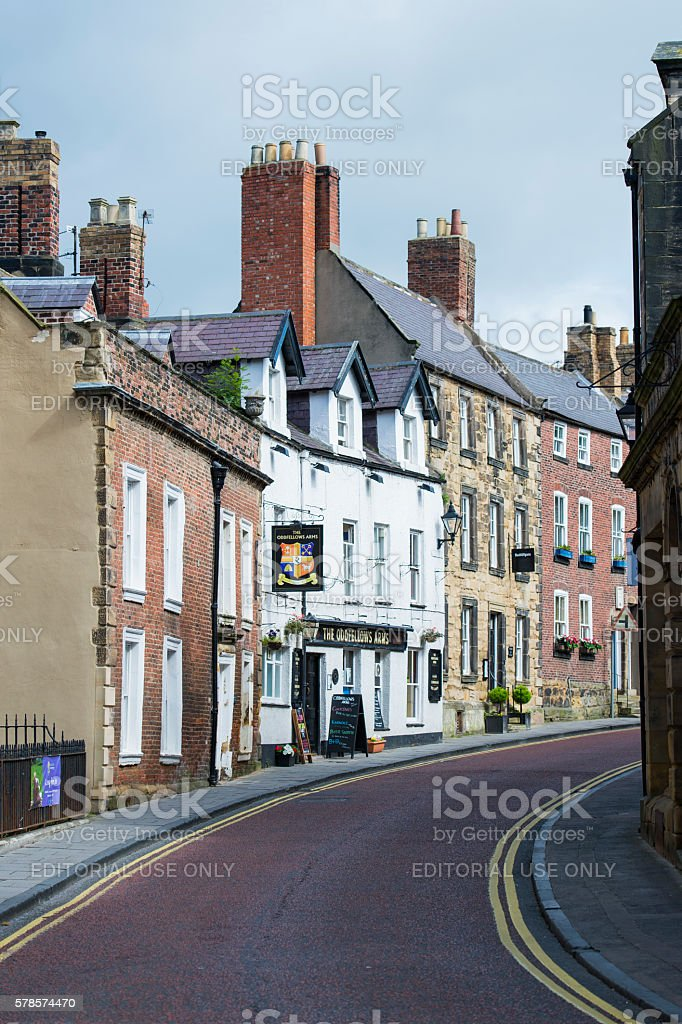 Old buildings in the historic market town of Alnwick stock photo