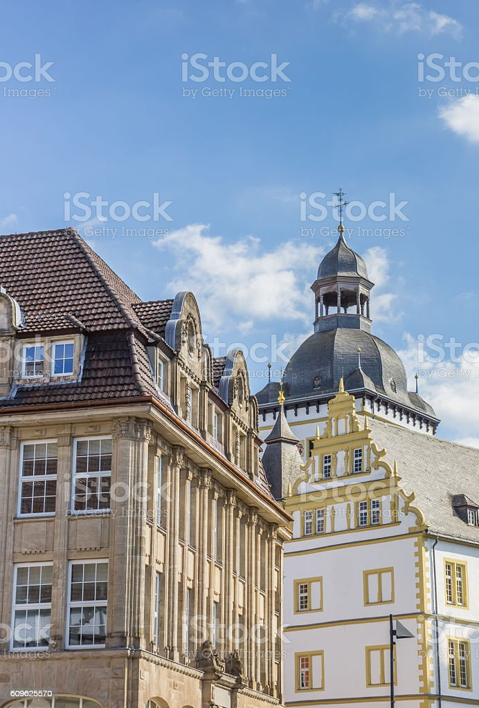 Old buildings in the historical center of Paderborn stock photo