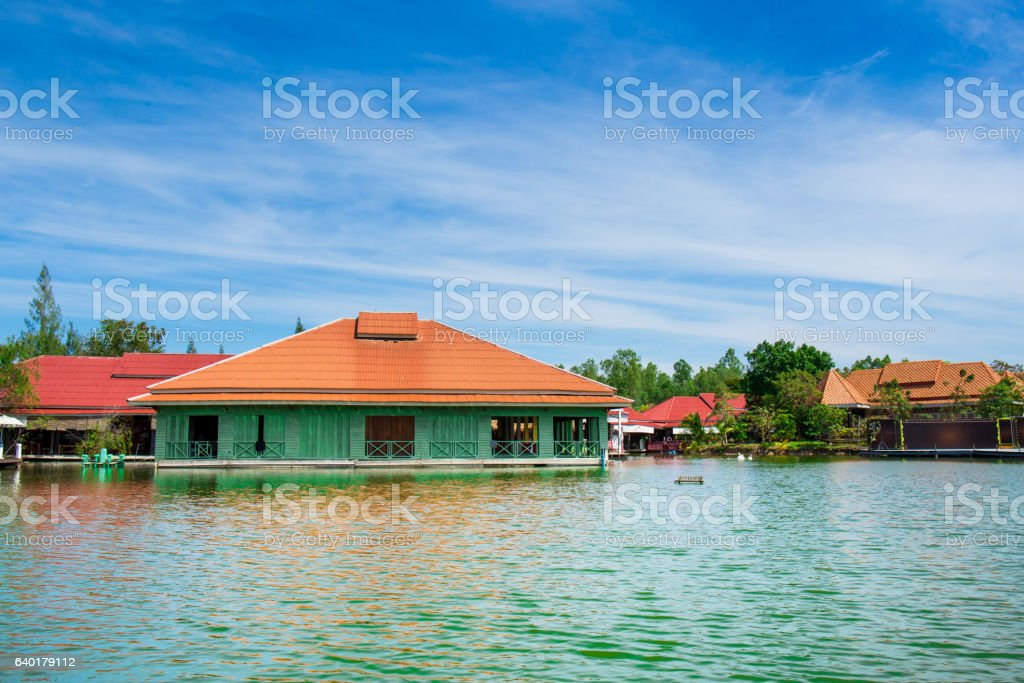 Old buildings in the lagoon stock photo