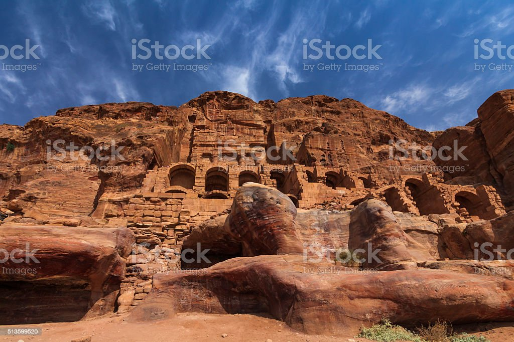 Old buildings of ancient Petra stock photo