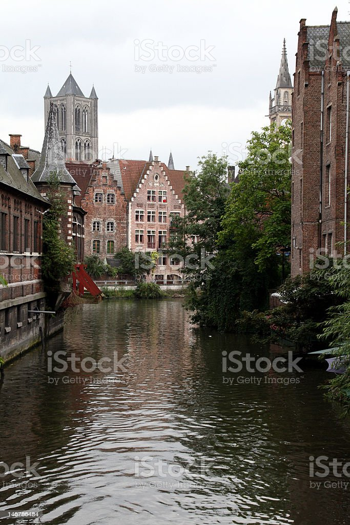 old buildings on a canal stock photo