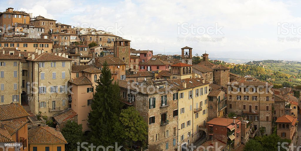 Old buildings on a hillside in the city of Arezzo stock photo