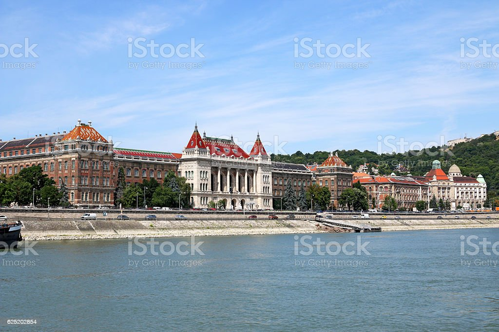 old buildings on Danube riverside Budapest Hungary stock photo