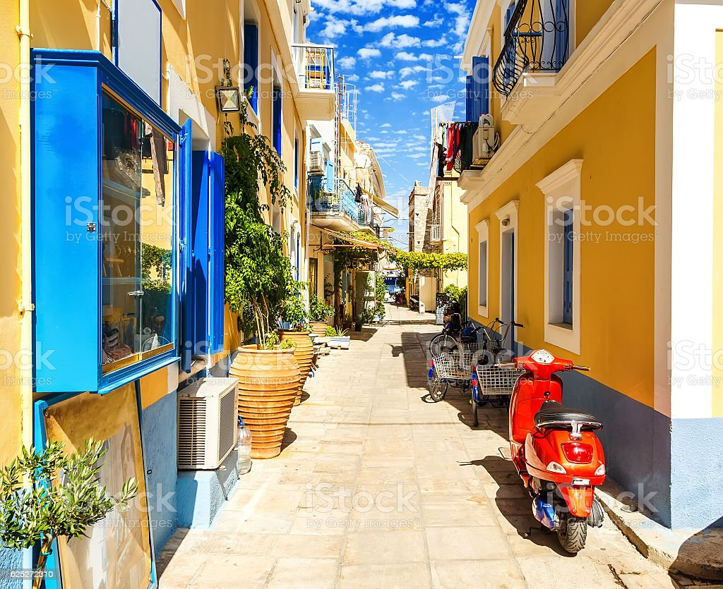 Old buildings on pictorial port of Symi island in Greece stock photo