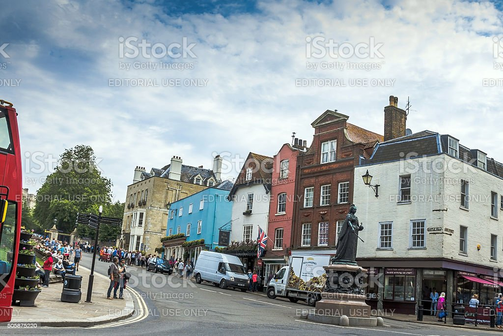 Old buildings opposite Lower Ward of medieval Windsor Castle stock photo