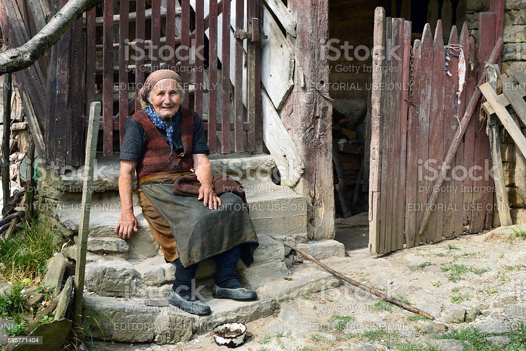 Old Bulgarian country woman stock photo