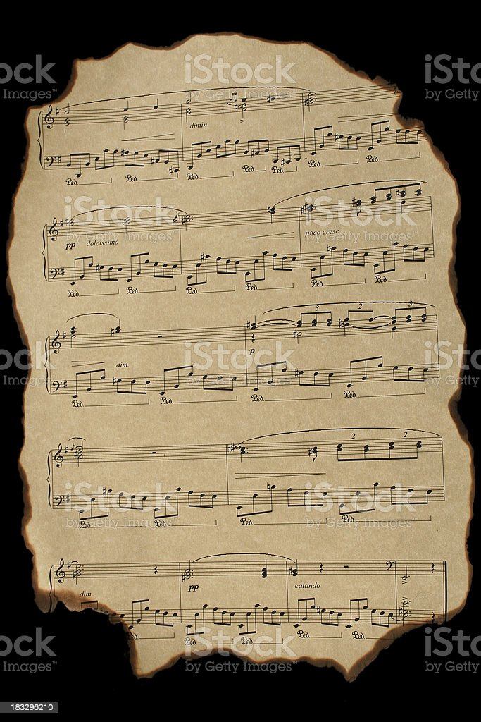 Old burnt notes royalty-free stock photo