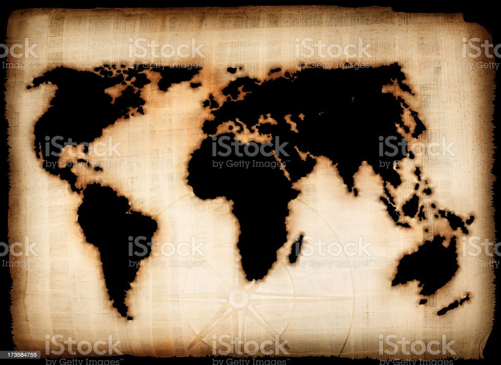 Old burnt world map royalty-free stock photo