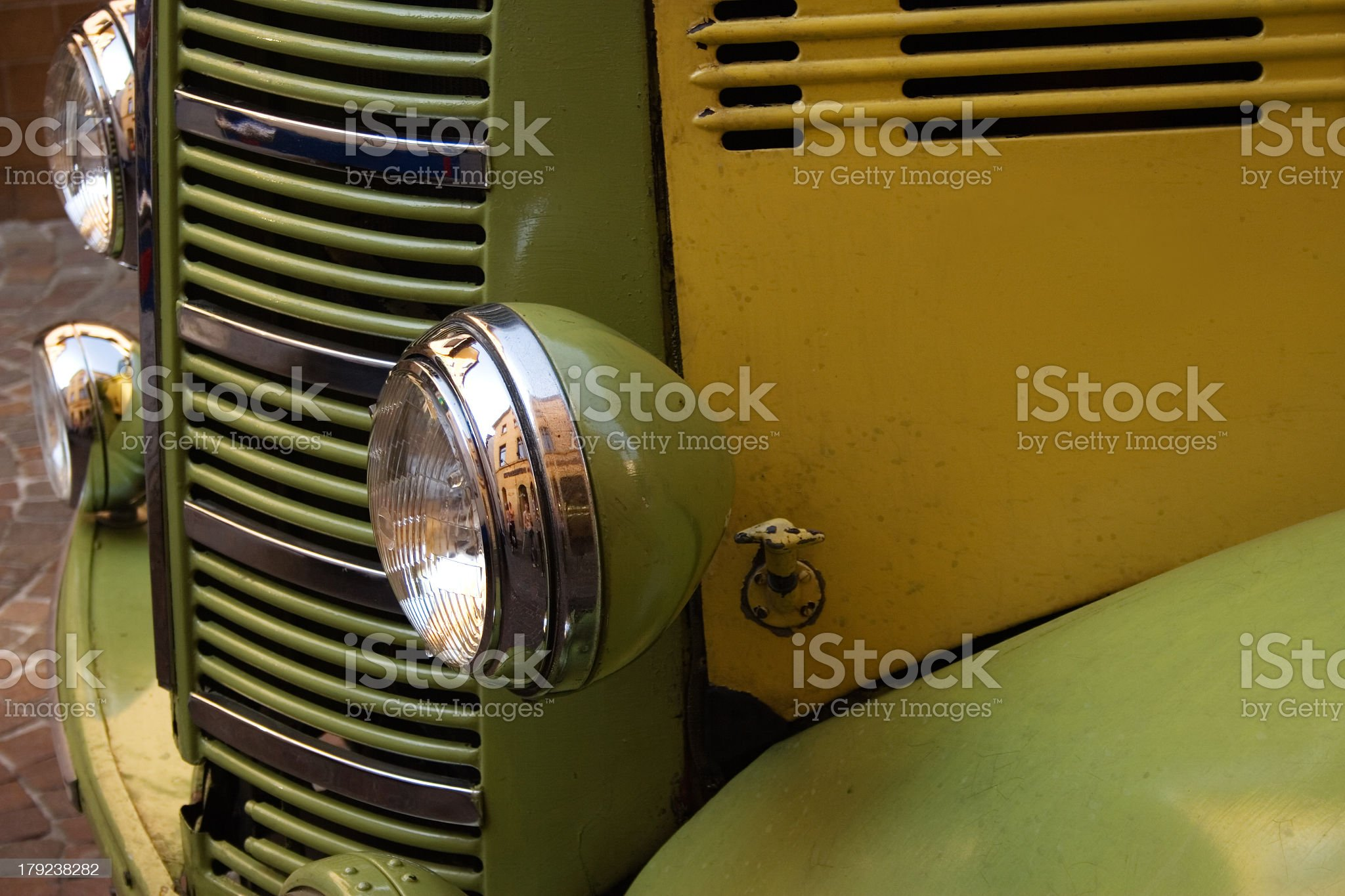 Old Bus Motor With Headlights royalty-free stock photo