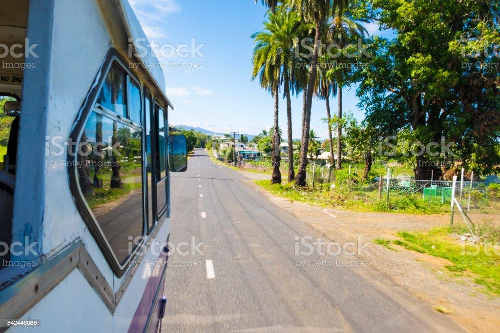 Old bus travelling to Nadi, Fiji stock photo