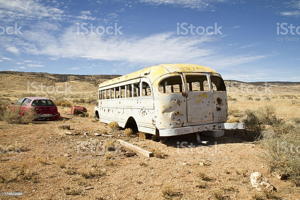 Old Bus with bullets holes royalty-free stock photo