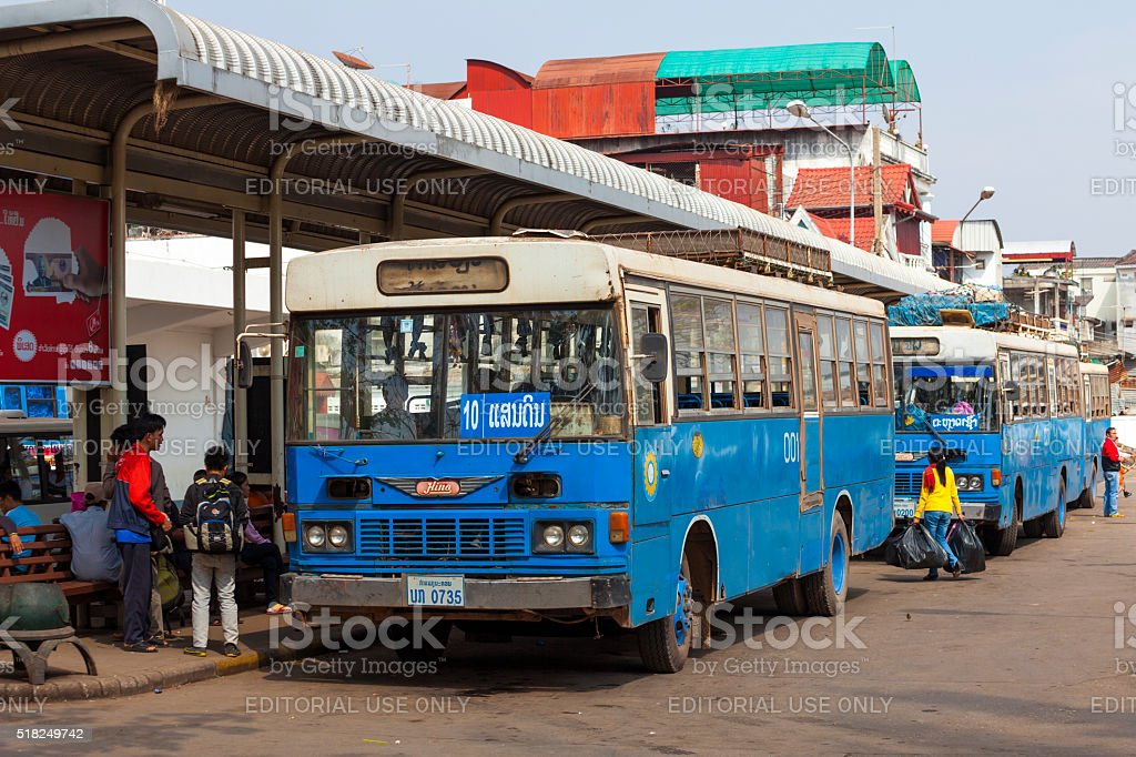 Old buses in Vientiane, Laos stock photo