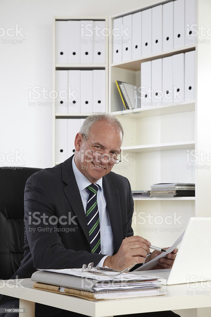 Old Business Mann with Laptop royalty-free stock photo