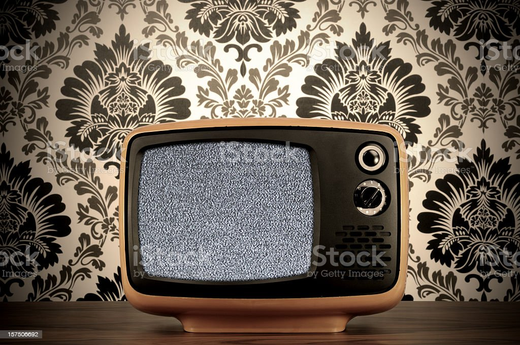 Old BW Tv (clipping path) stock photo