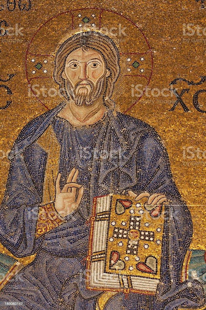 Old byzantine mosaic of the Jesus Christ stock photo