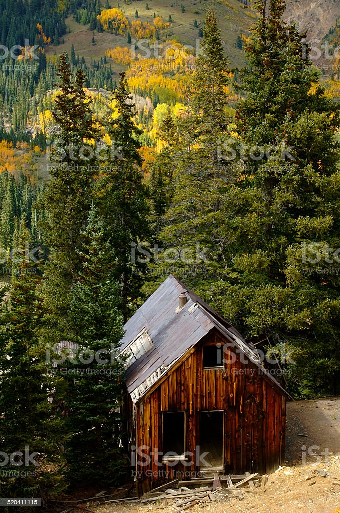 Old Cabin at the Yankee Girl Mine stock photo