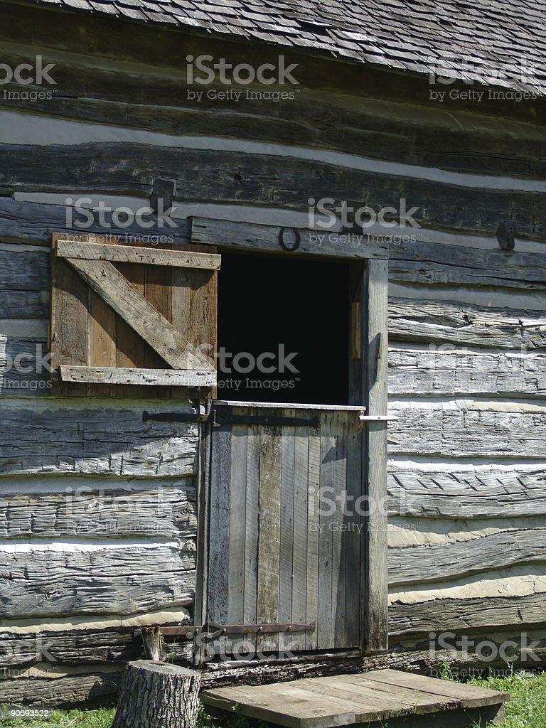 Old cabin door study stock photo