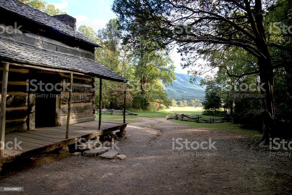 Old cabin in Cades Cove stock photo