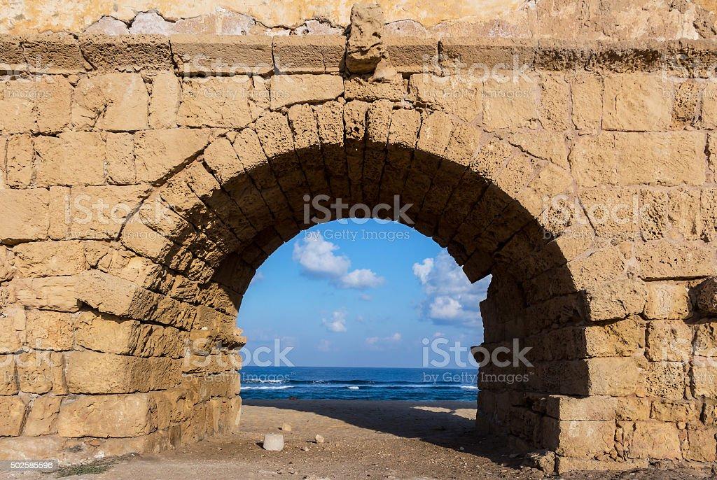 Old Caesarea - Gates - Israel stock photo
