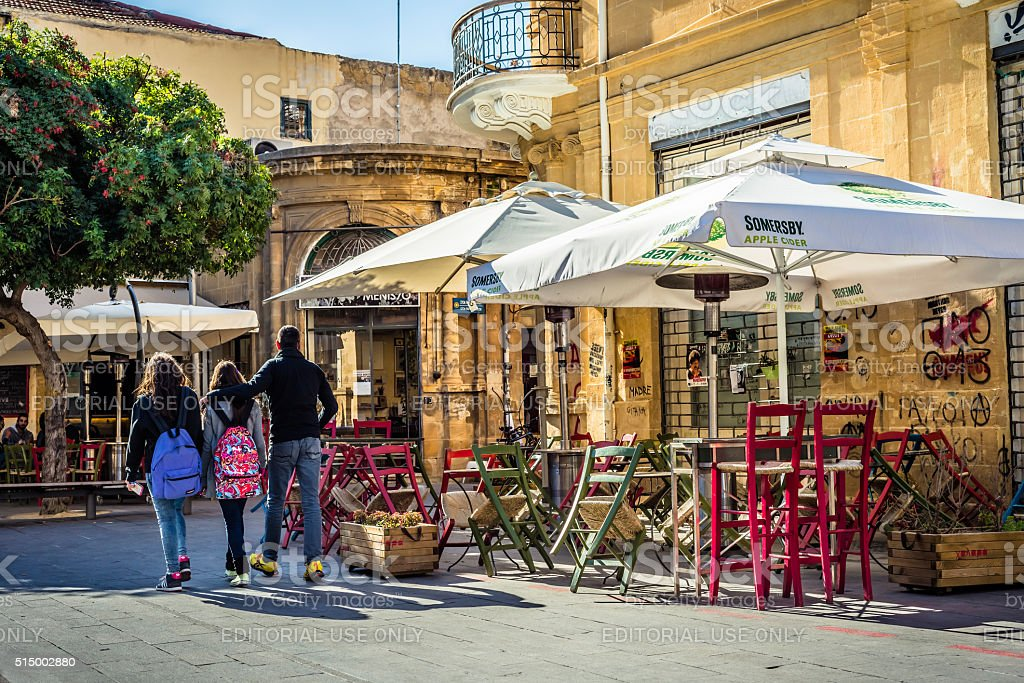 Old cafe terrace at Fanairomenis street in Central Nicosia, Cyprus stock photo