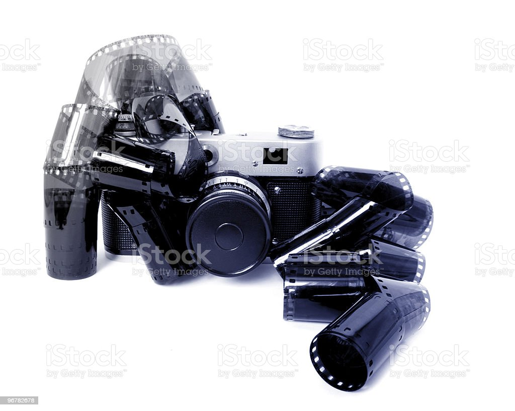old camera and film isolated stock photo