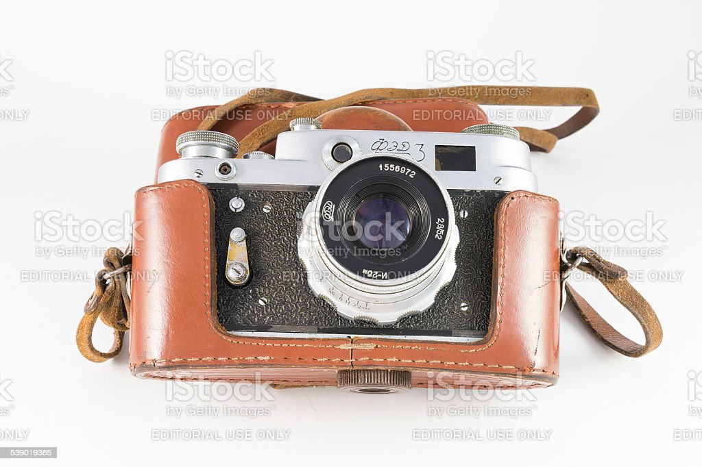 Old camera in its case stock photo