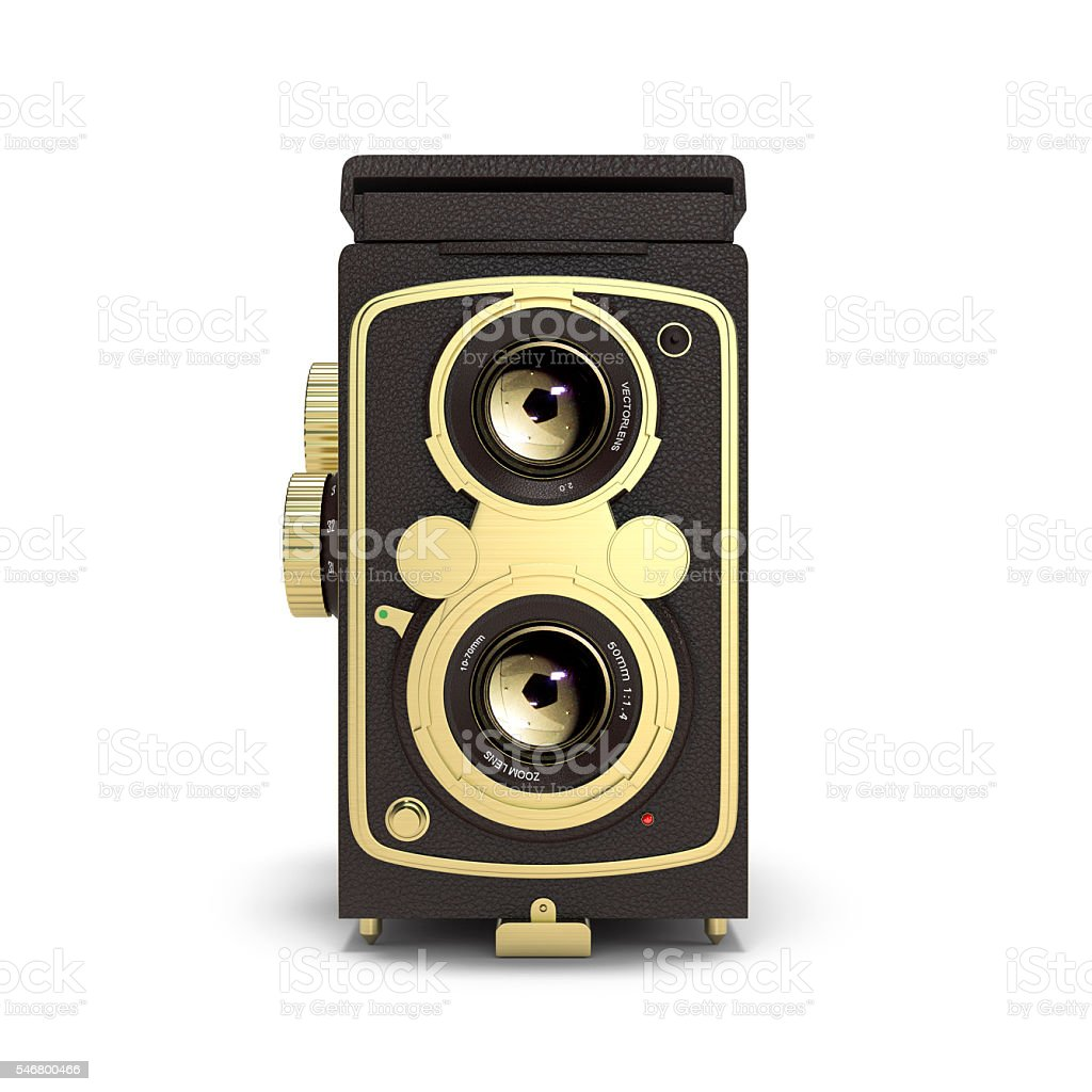 Old camera isolated 3d rendering stock photo