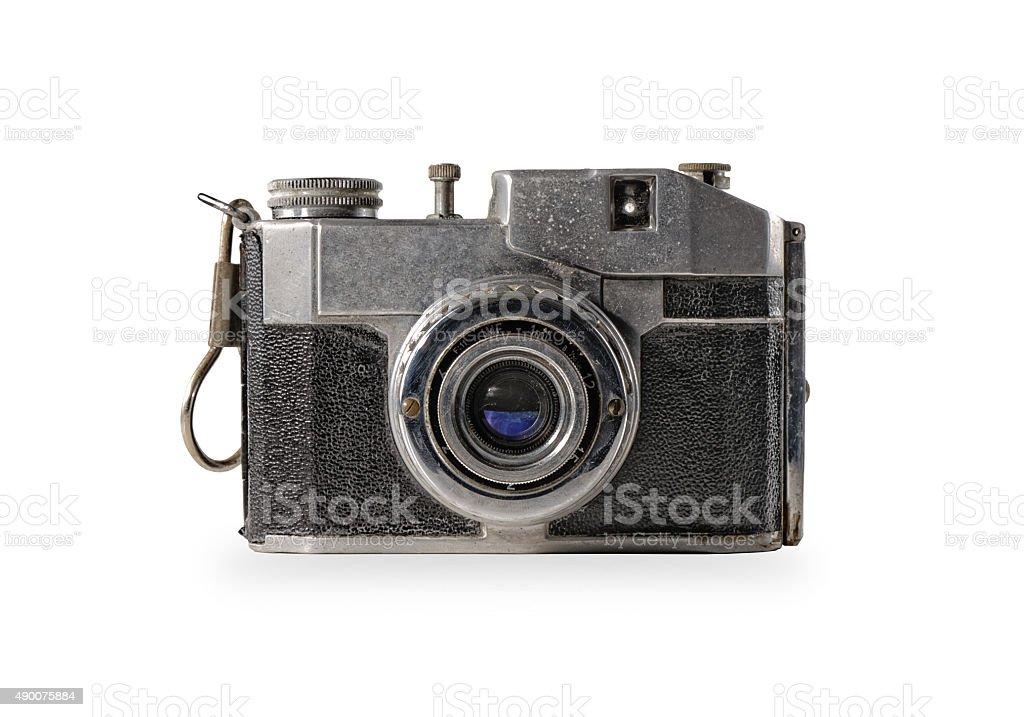 old camera isolated stock photo