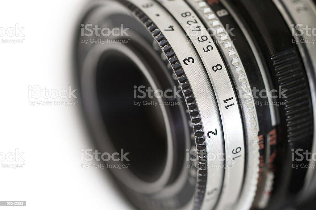 Old camera lens stock photo
