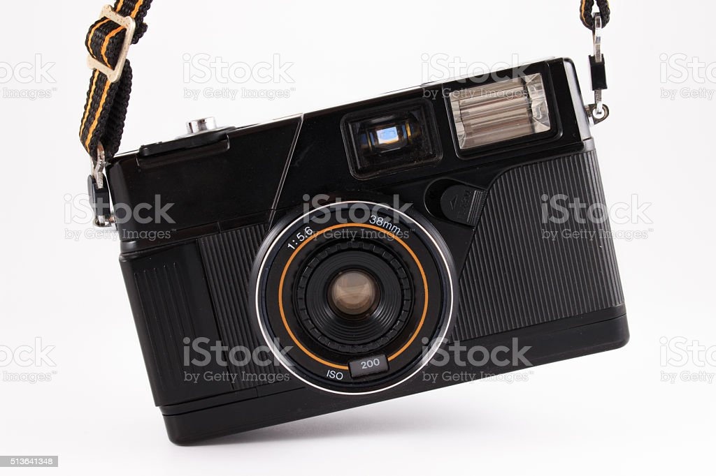 Old camera, vintage camera films popular in the past. stock photo
