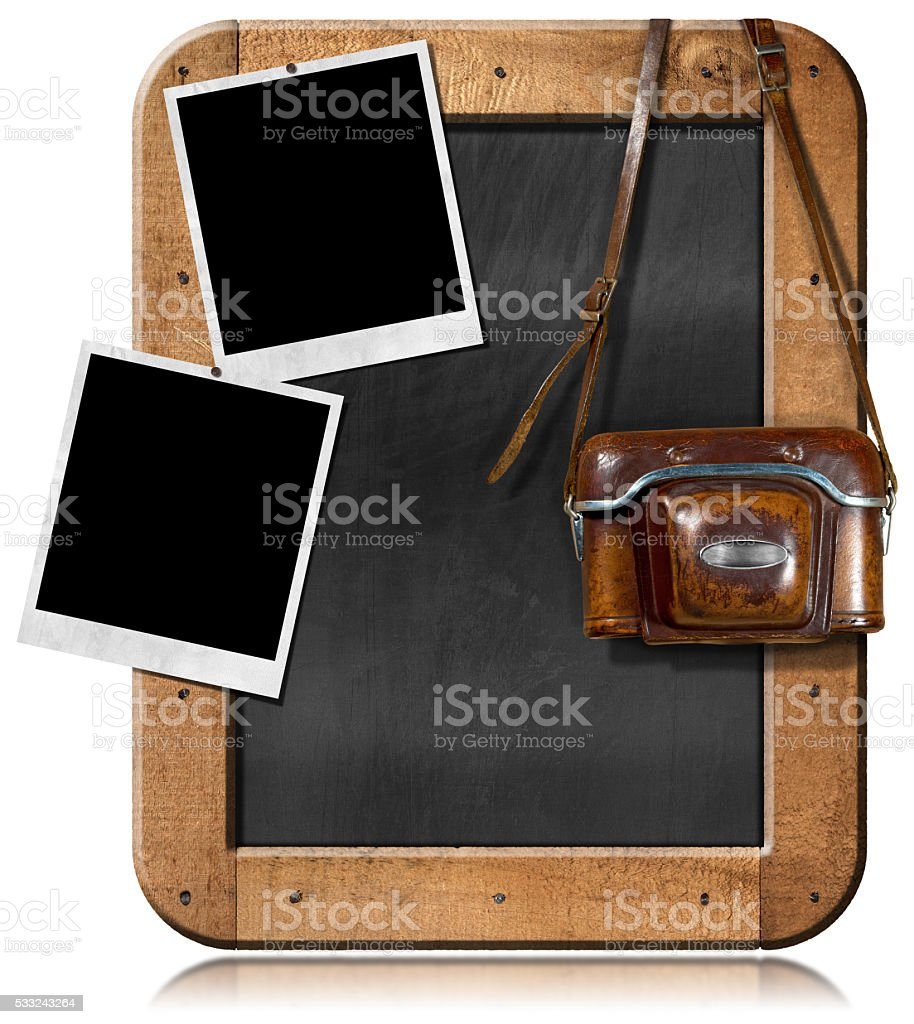 Old Camera with Blackboard and Empty Photos stock photo