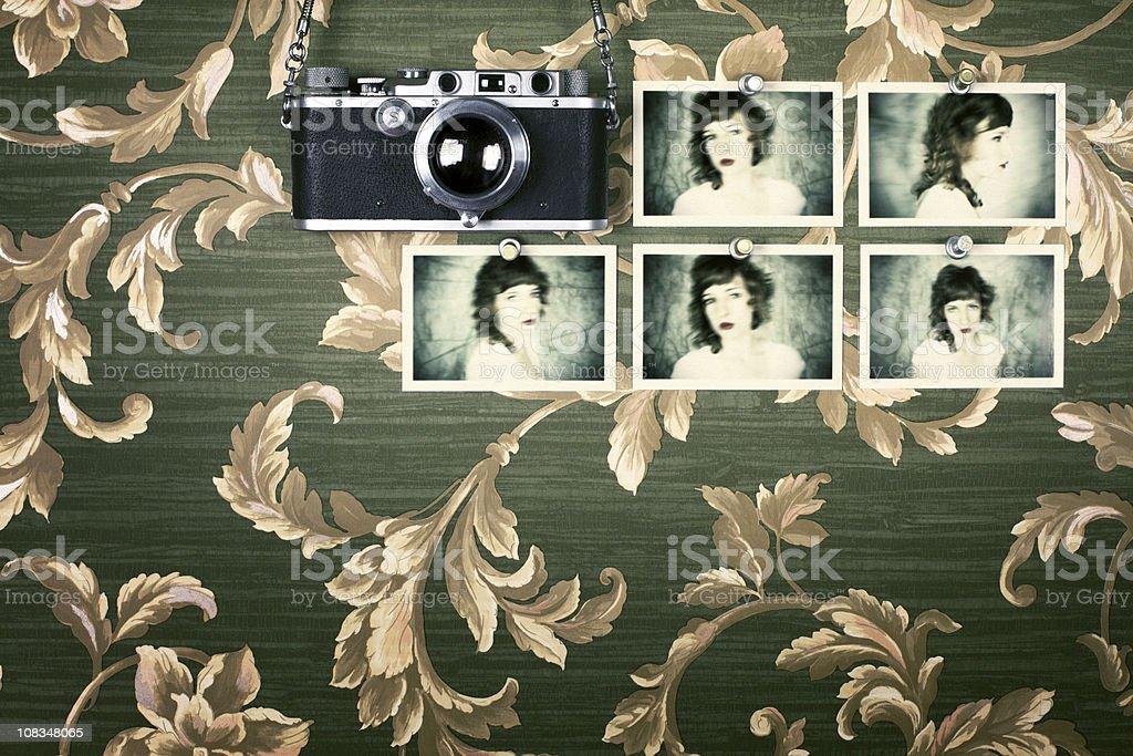 Old Camera, Young Woman, Wallpaper royalty-free stock photo