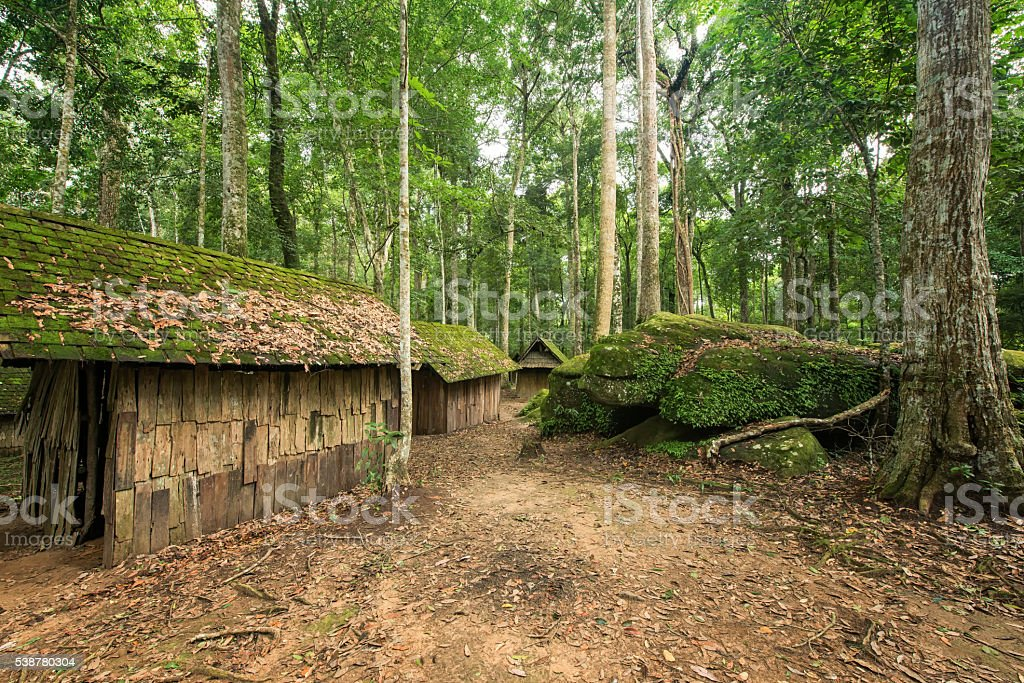 Old camp at evergreen forest stock photo