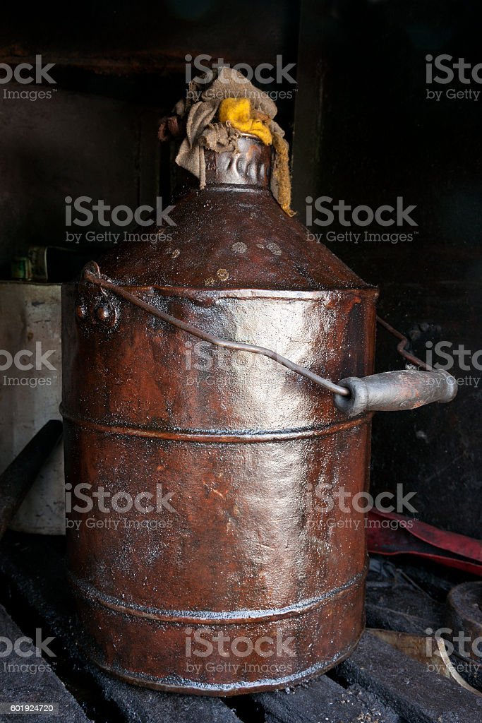Old can with lubricant stock photo