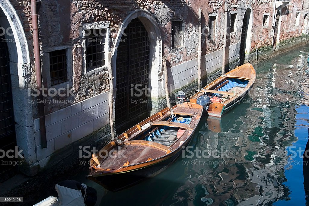 Old canal and Boats in Venice royalty-free stock photo